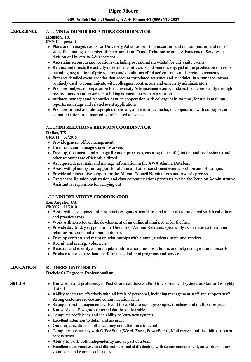 alumni relations coordinator resume samples