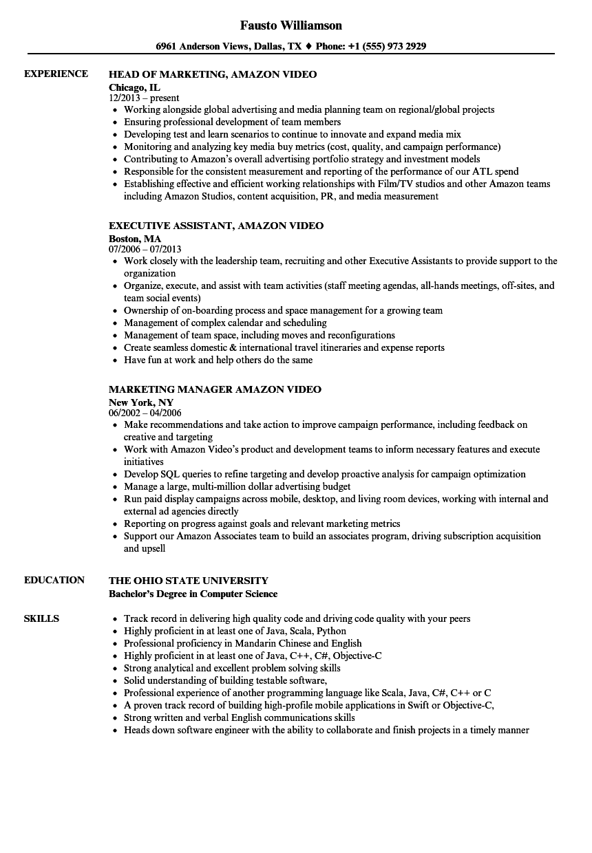 Amazon Video Resume Samples | Velvet Jobs