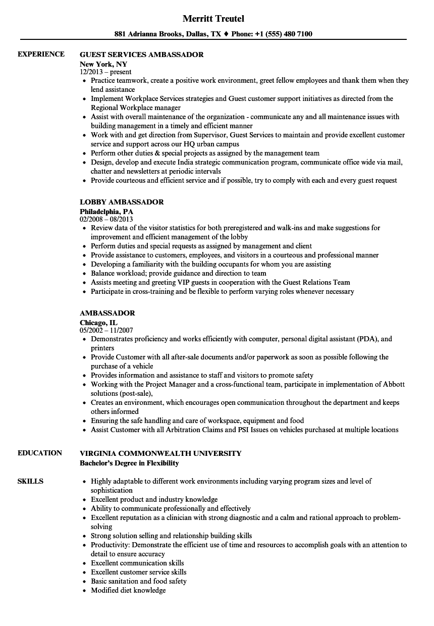 ambassador resume samples