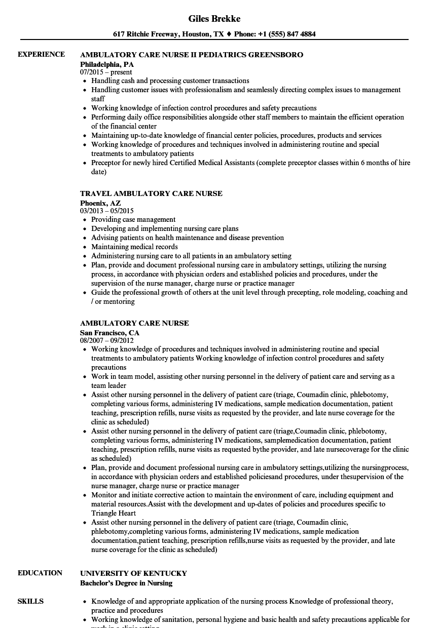 Ambulatory Care Nurse Resume Samples | Velvet Jobs