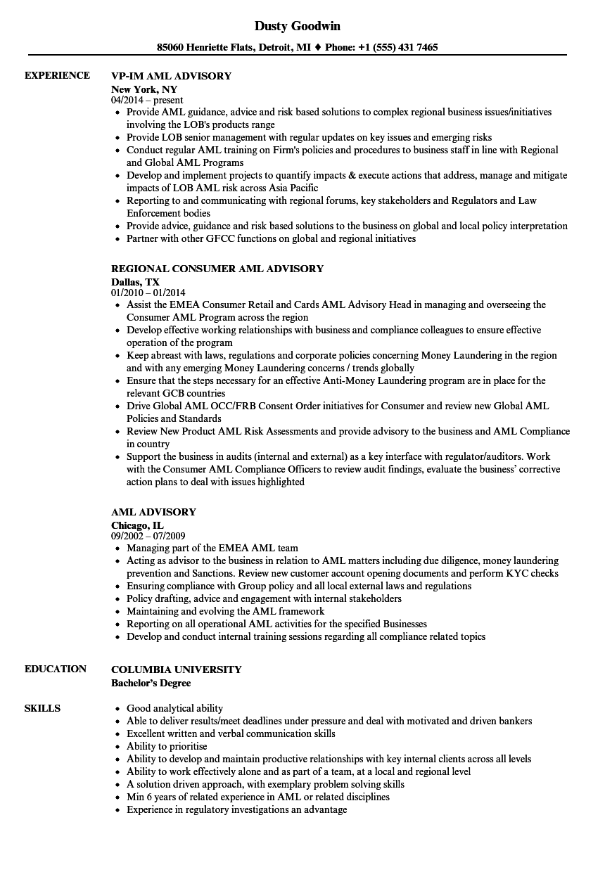 Aml Advisory Resume Samples Velvet Jobs