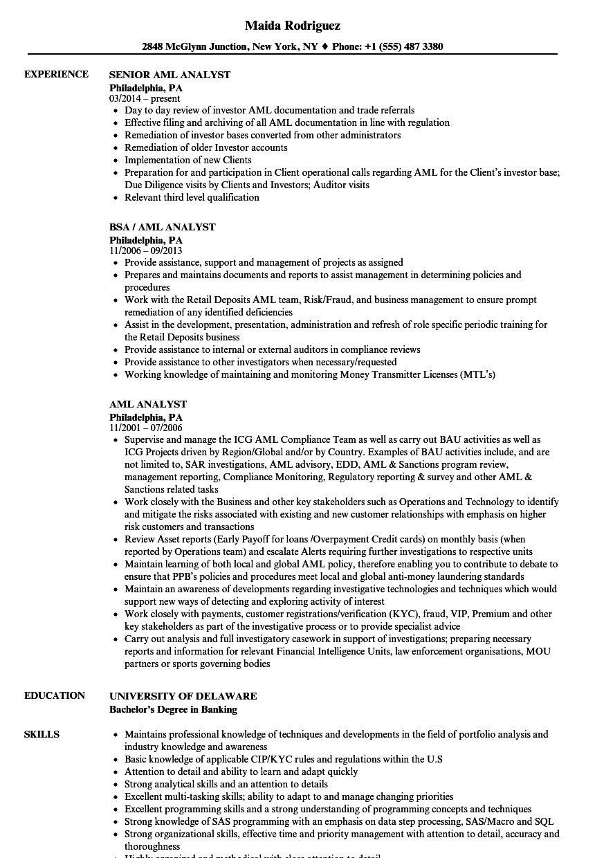 Aml Analyst Resume Samples Velvet Jobs
