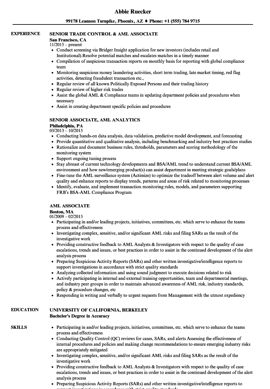 aml associate resume samples