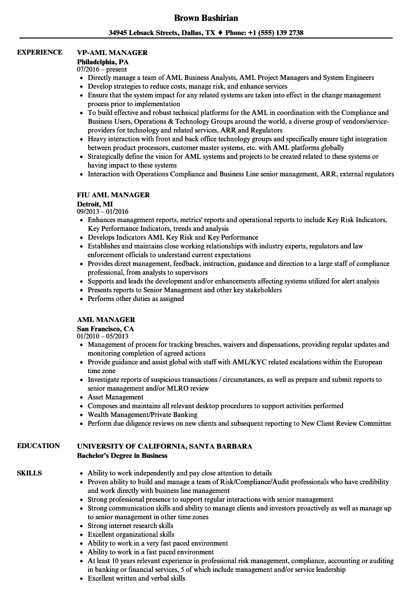aml manager resume samples
