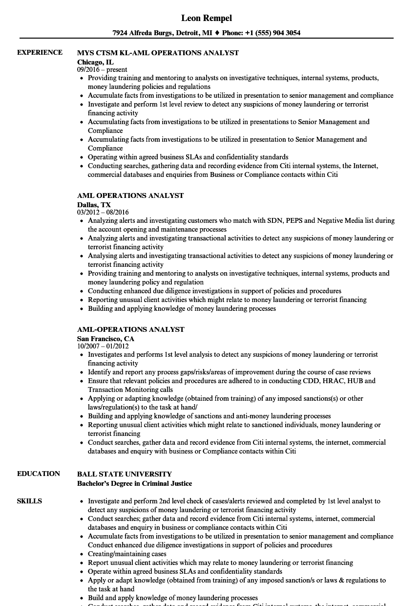 AML Operations Analyst Resume Samples | Velvet Jobs