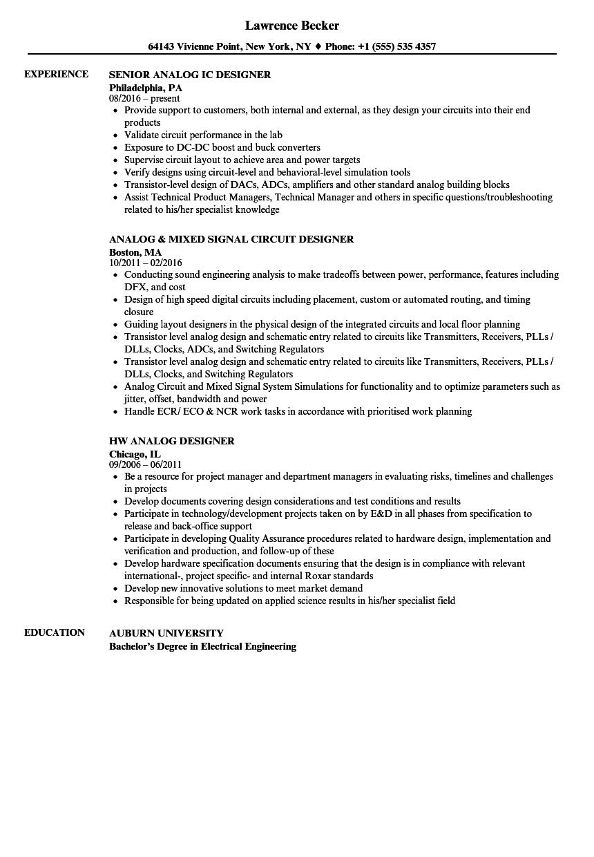 Analog Designer Resume Samples | Velvet Jobs