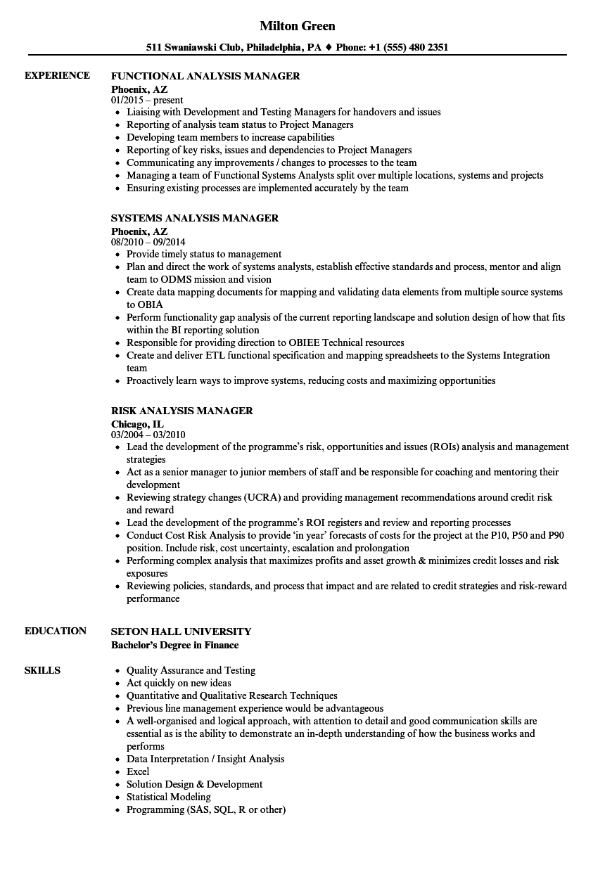 Download Analysis Manager Resume Sample As Image File