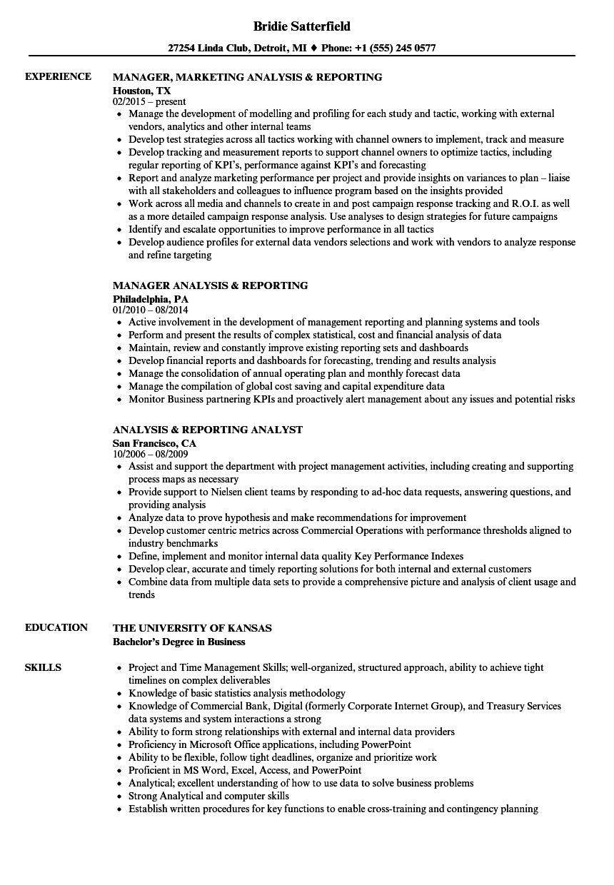 download analysis reporting resume sample as image file - Reporting Specialist Sample Resume