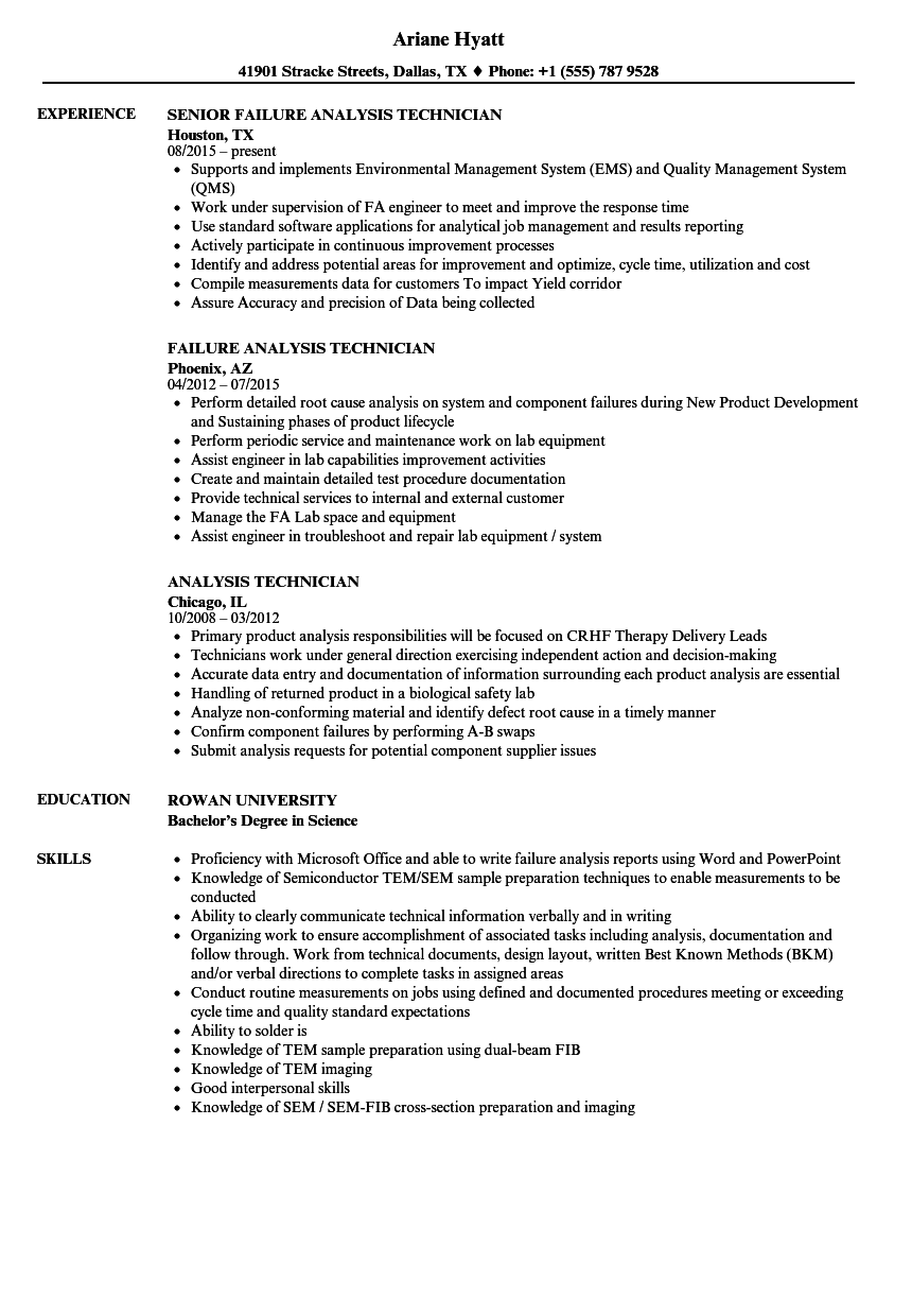 Analysis Technician Resume Samples