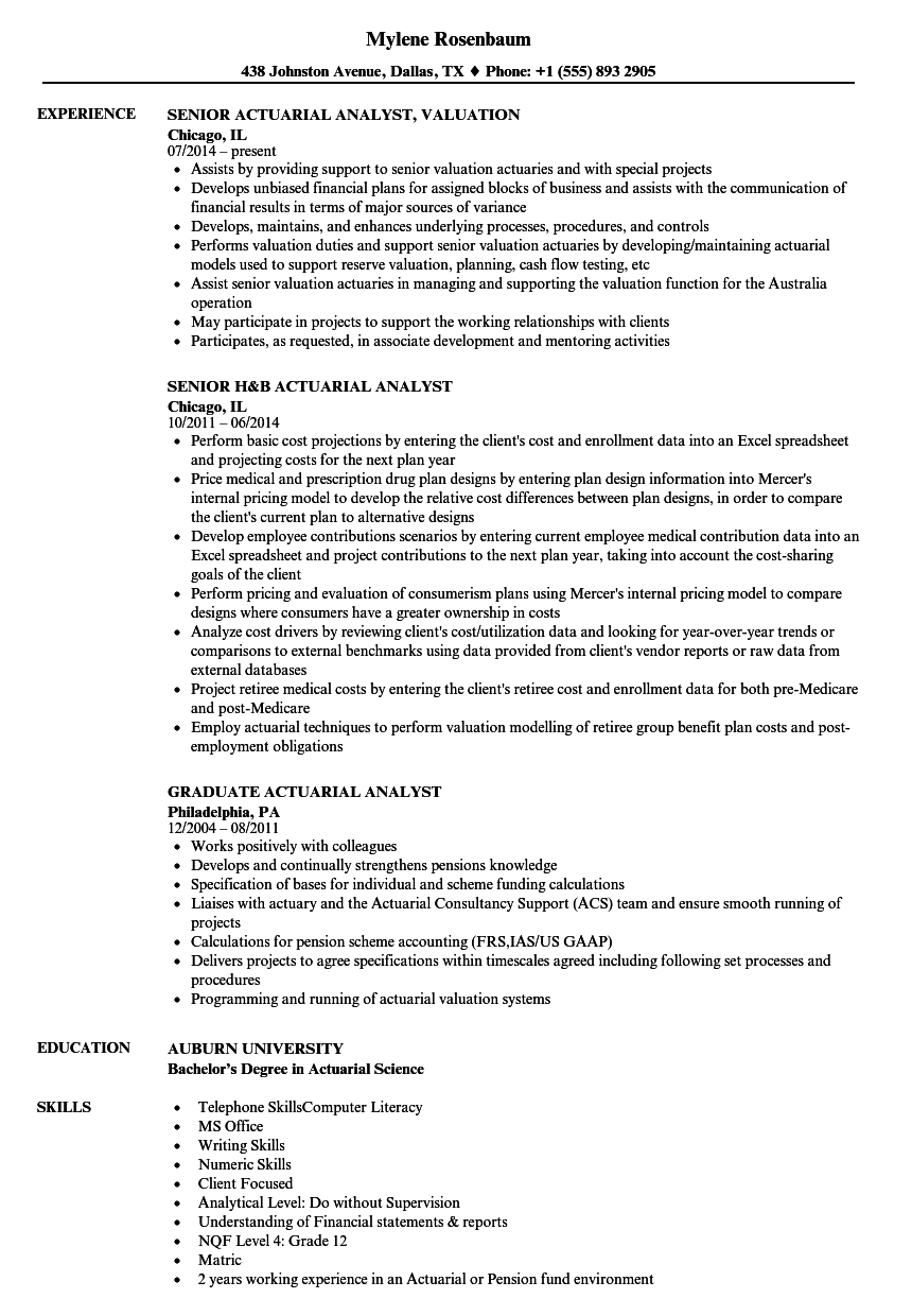 analyst actuarial resume samples