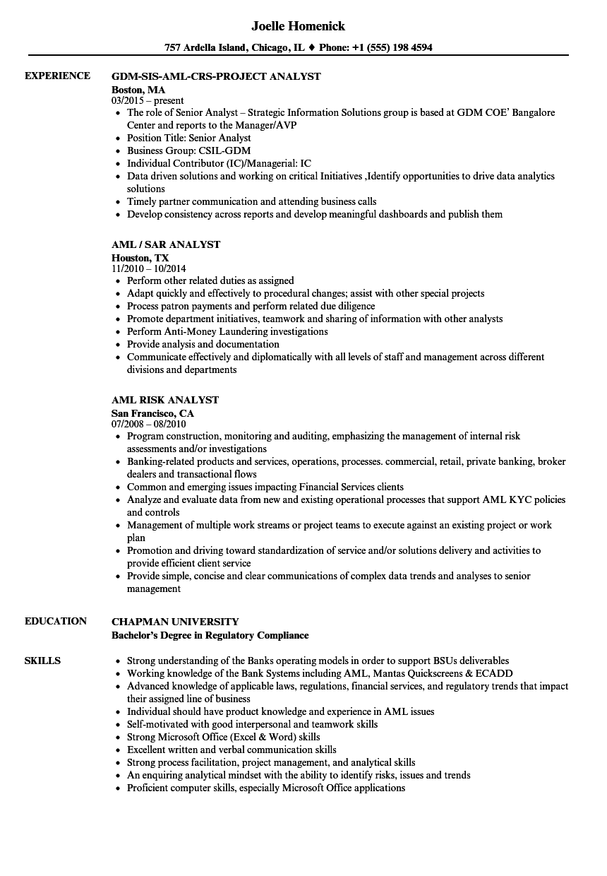 download analyst aml resume sample as image file