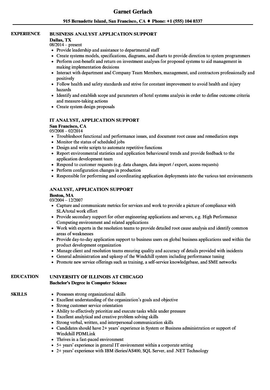 Analyst Application Support Resume Samples Velvet Jobs