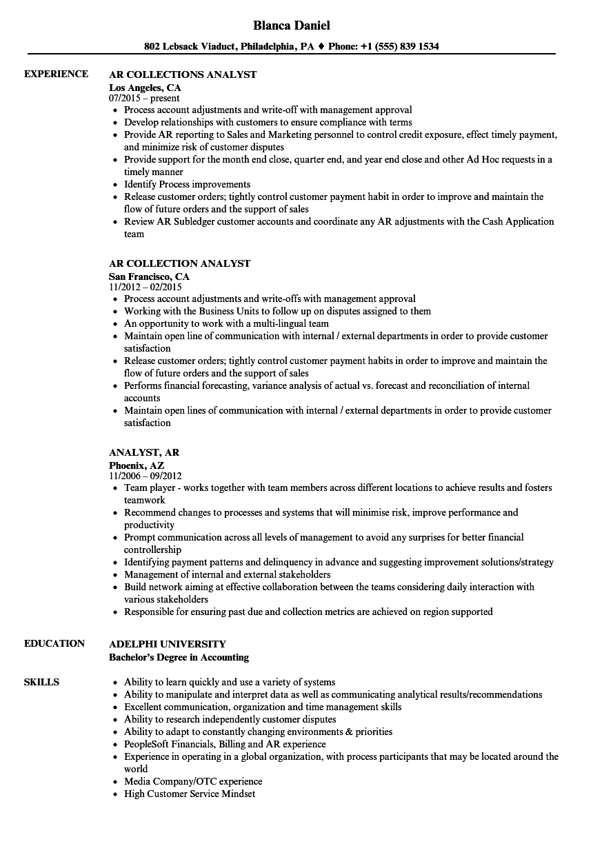 analyst  ar resume samples