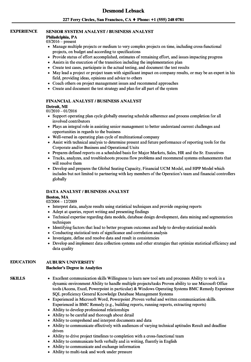 analyst    business analyst resume samples