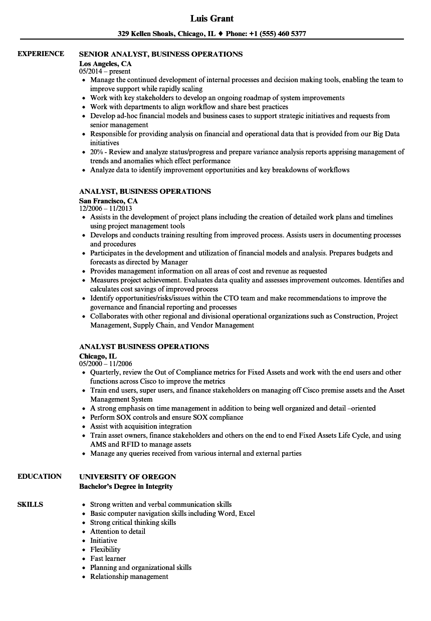 best business operations analyst resume photos resume