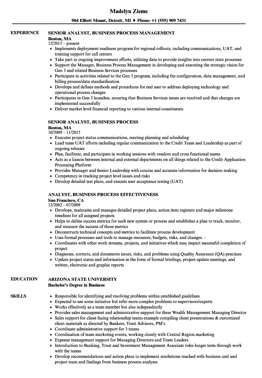 analyst  business process resume samples