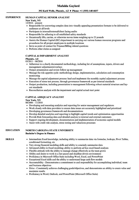 analyst  capital resume samples