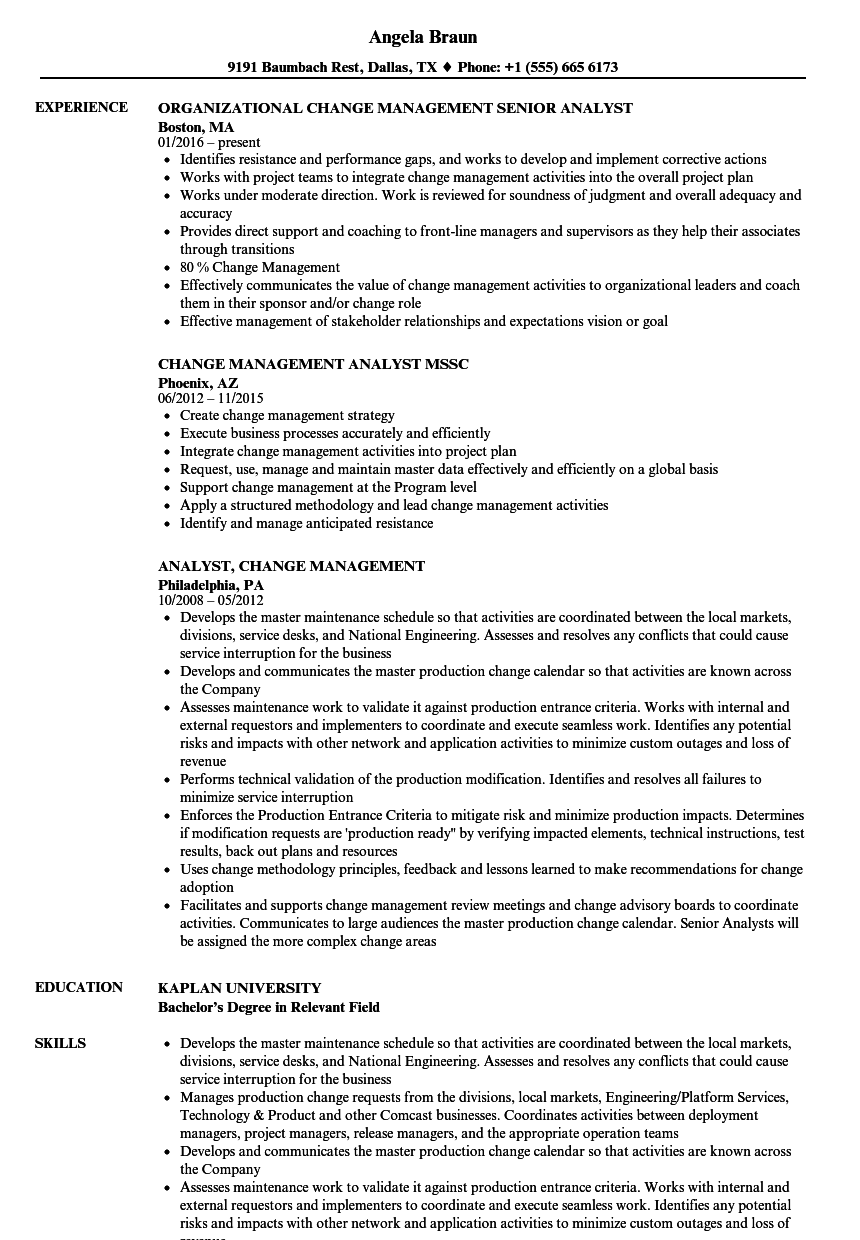 Analyst, Change Management Resume Samples | Velvet Jobs