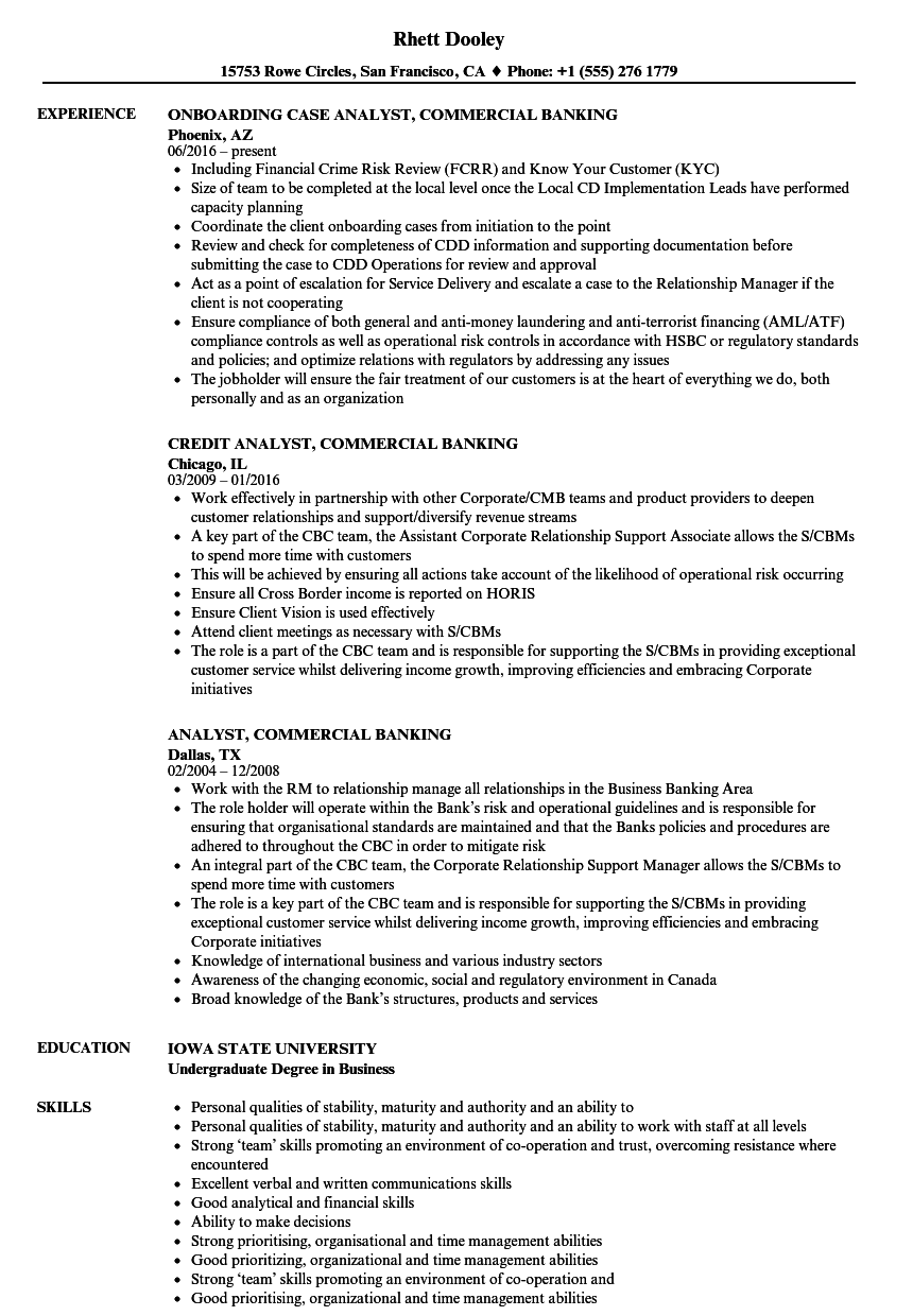 Download Analyst, Commercial Banking Resume Sample As Image File