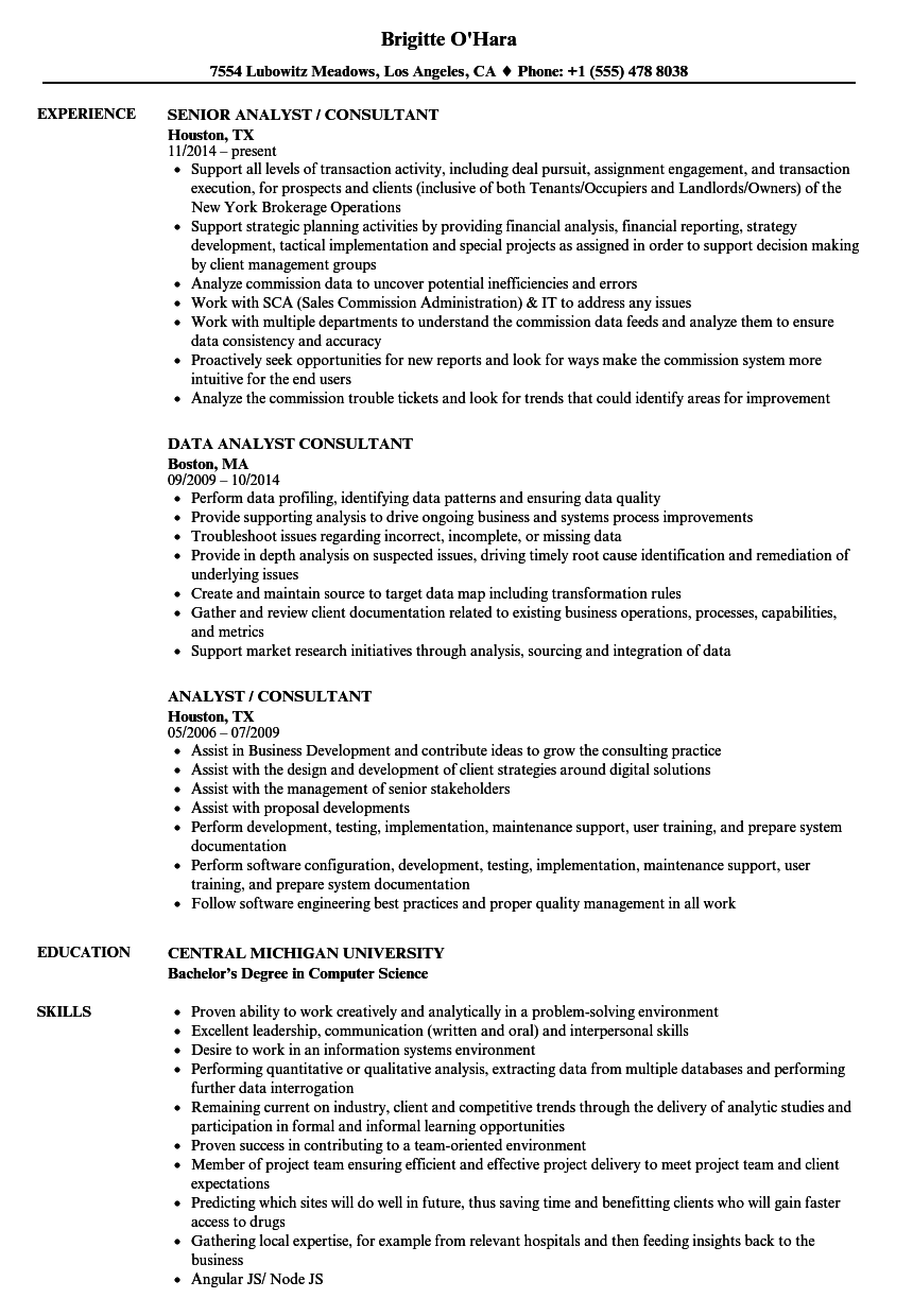 download analyst consultant resume sample as image file - Sample Resume Reconciliation Analyst Consultant