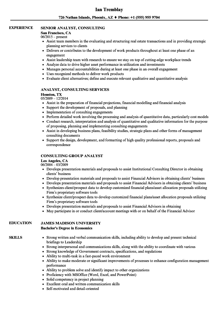 Download Analyst Consulting Resume Sample As Image File