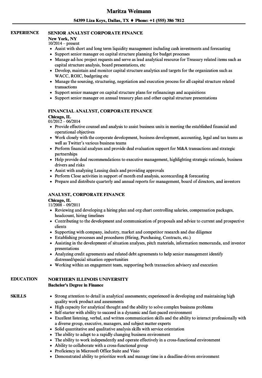 analyst  corporate finance resume samples