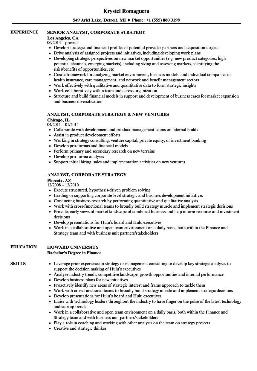 analyst  corporate strategy resume samples