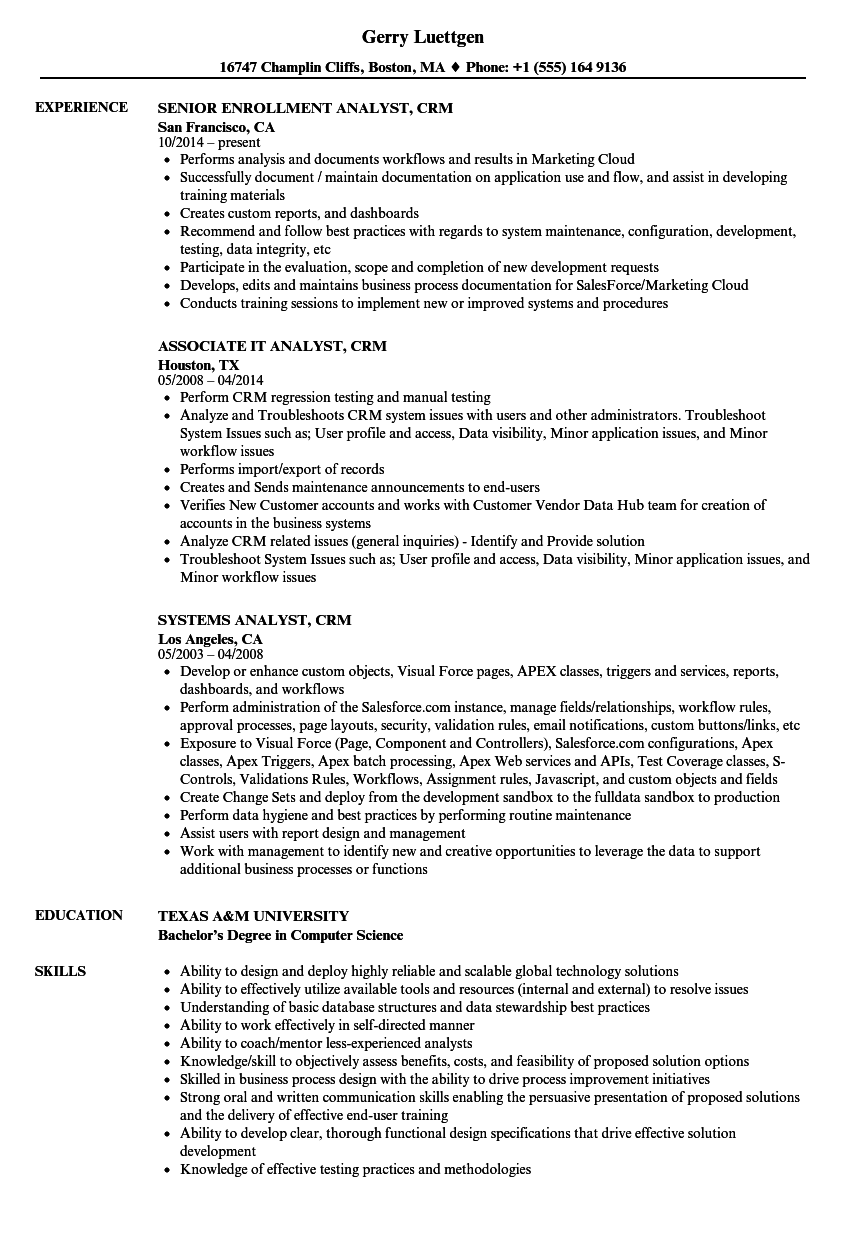 analyst  crm resume samples
