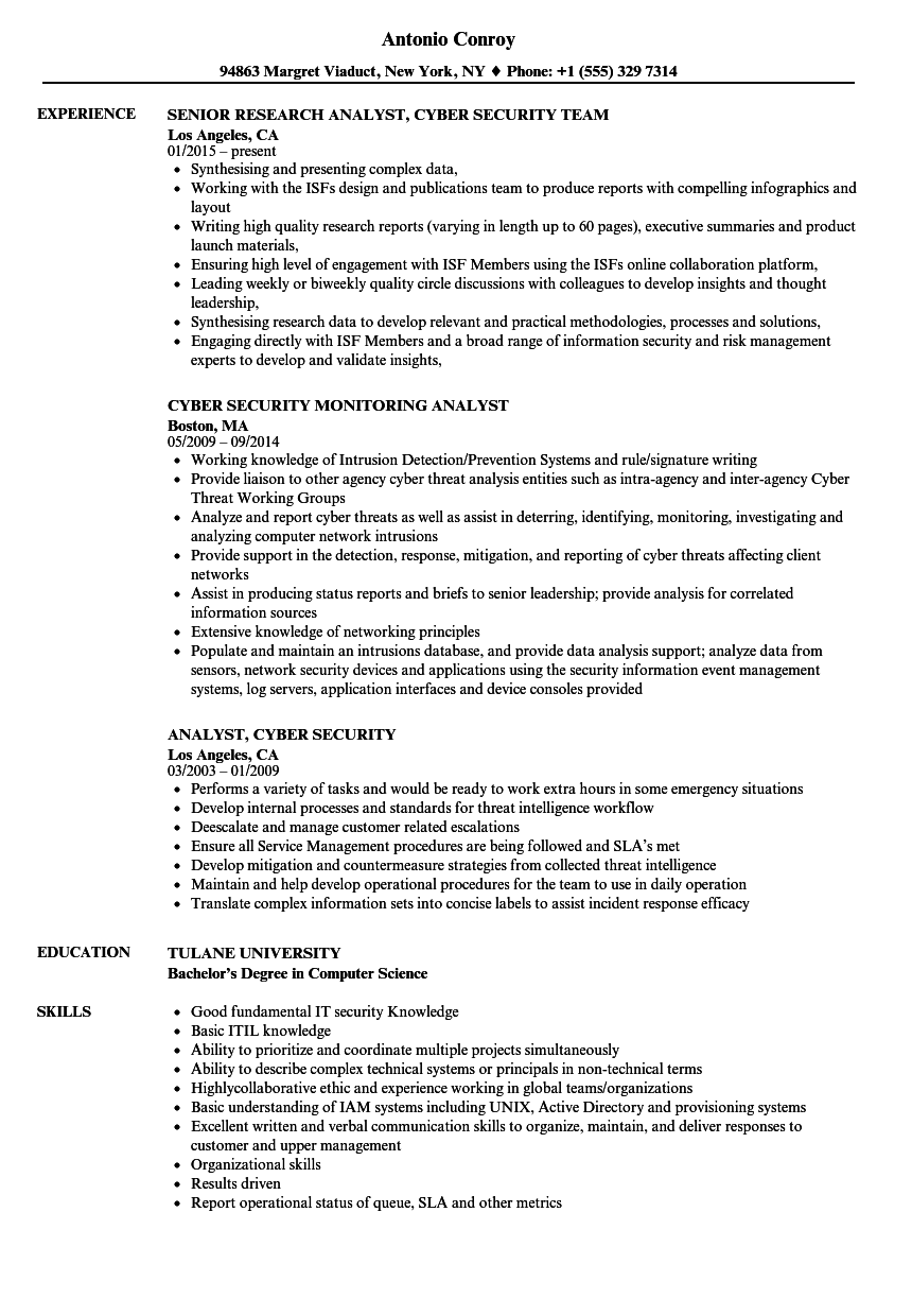 download analyst cyber security resume sample as image file