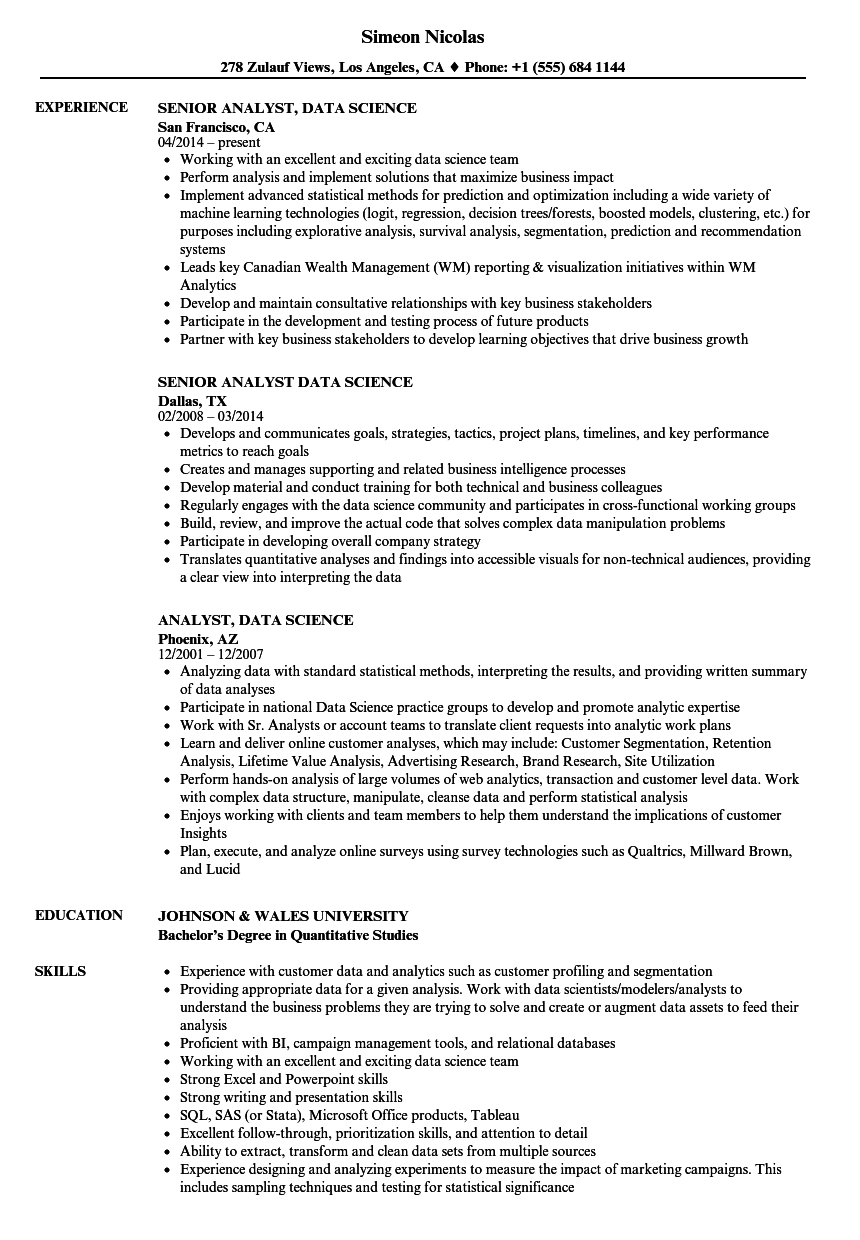 Analyst, Data Science Resume Samples | Velvet Jobs