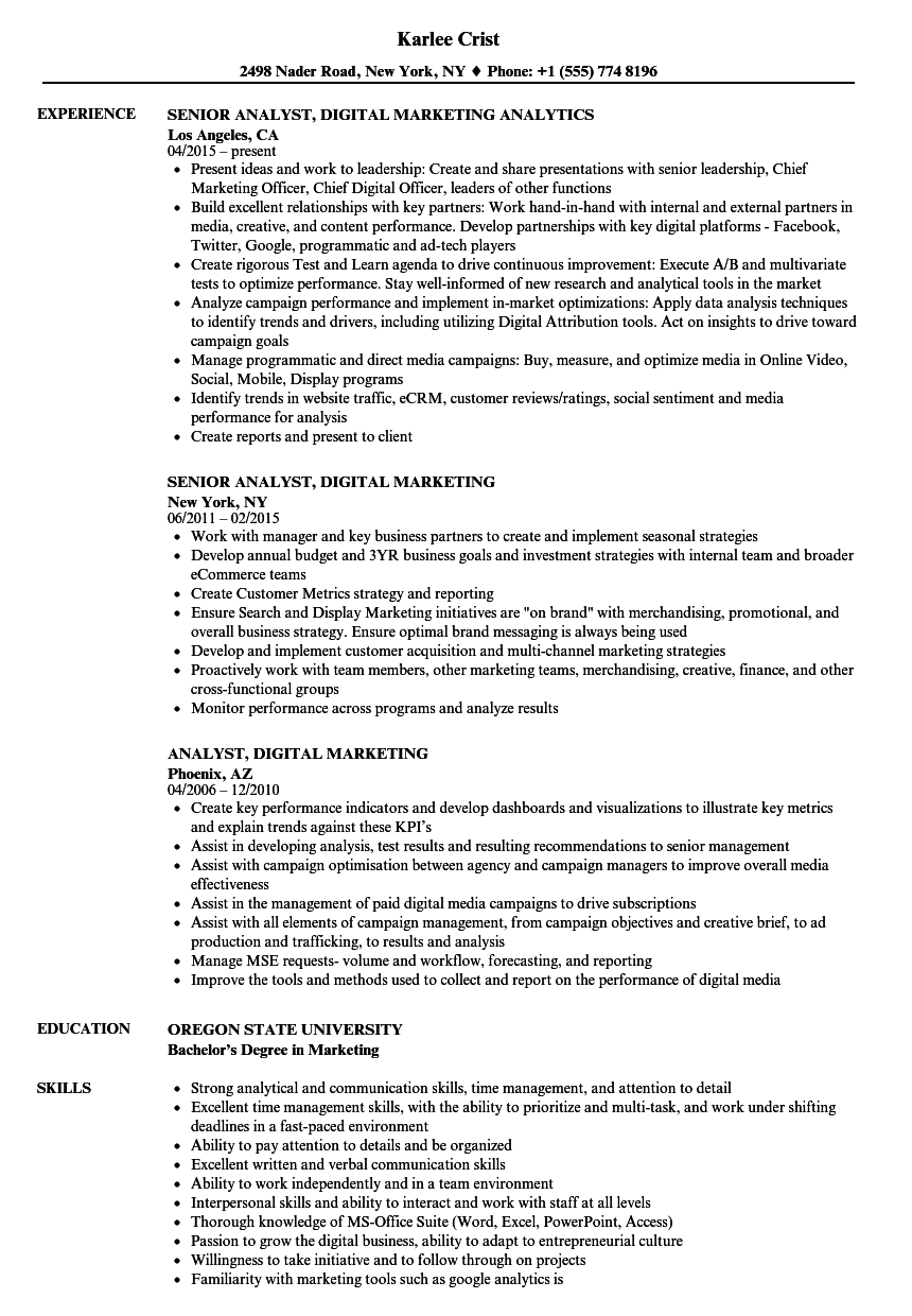 Analyst Digital Marketing Resume Samples  Velvet Jobs
