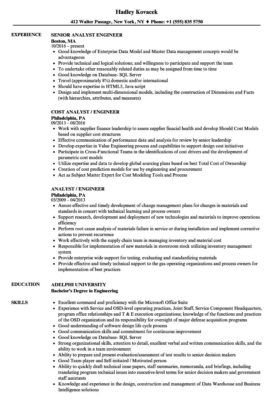analyst    engineer resume samples