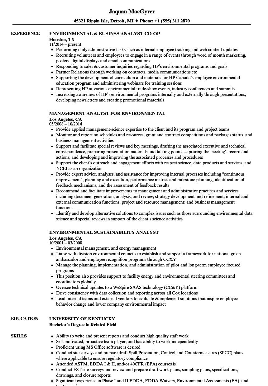 Analyst Environmental Resume Samples Velvet Jobs