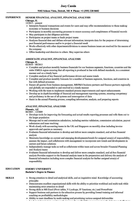 analyst  financial analysis resume samples