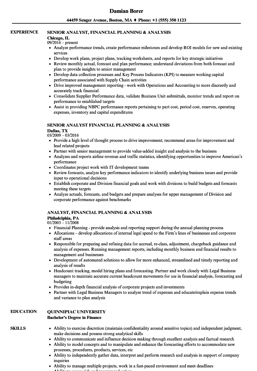 Analyst, Financial Planning Resume Samples | Velvet Jobs