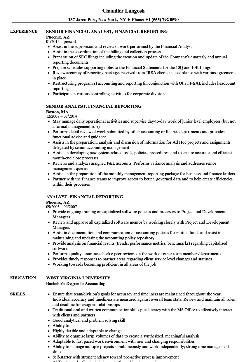 analyst  financial reporting resume samples