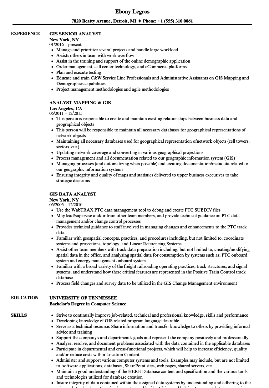 Analyst, GIS Resume Samples | Velvet Jobs