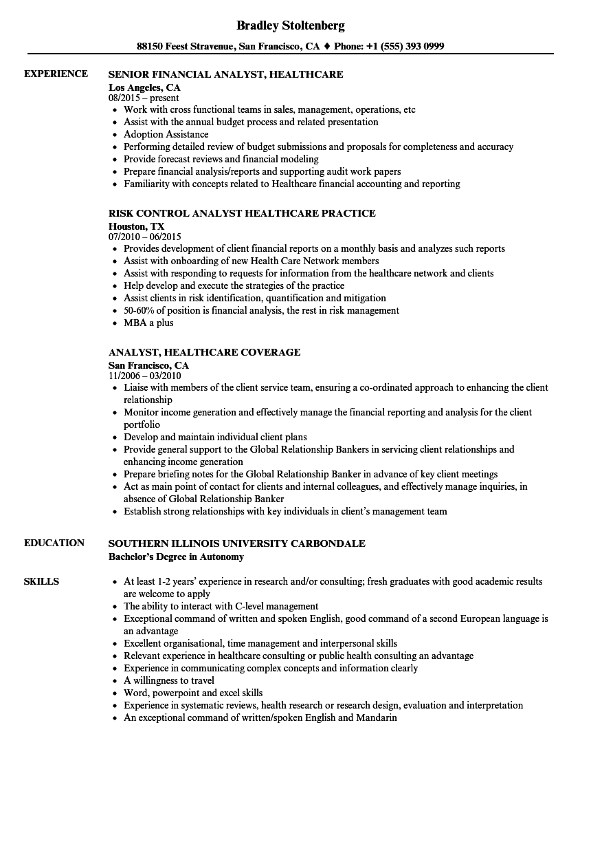 Download Analyst, Healthcare Resume Sample As Image File