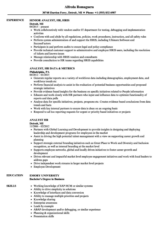 Analyst HR Resume Samples | Velvet Jobs
