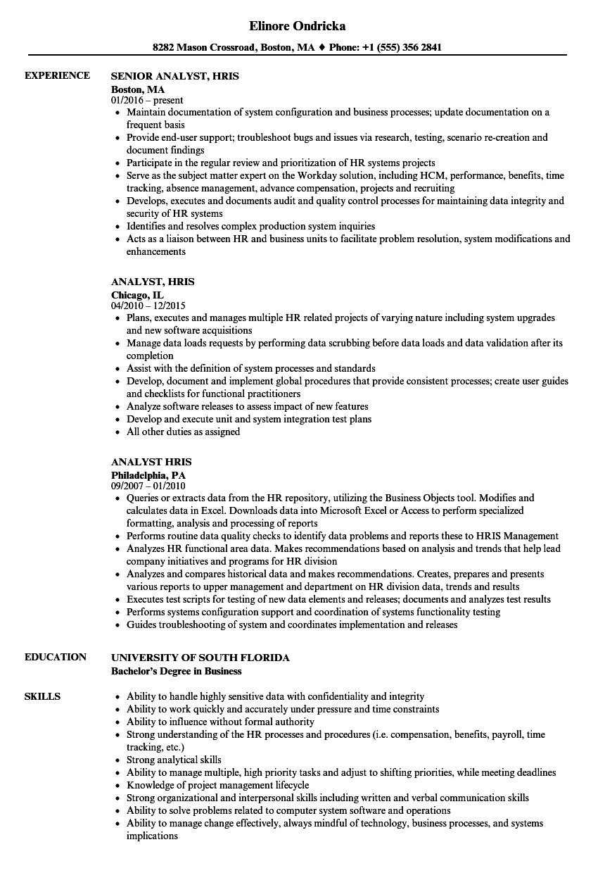 Analyst  Hris Resume Samples
