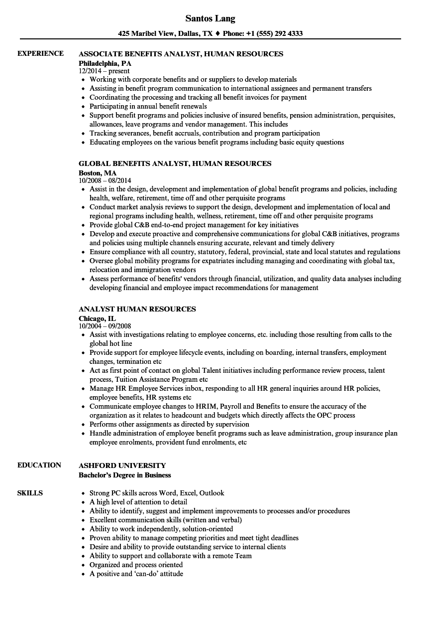 analyst human resources resume samples
