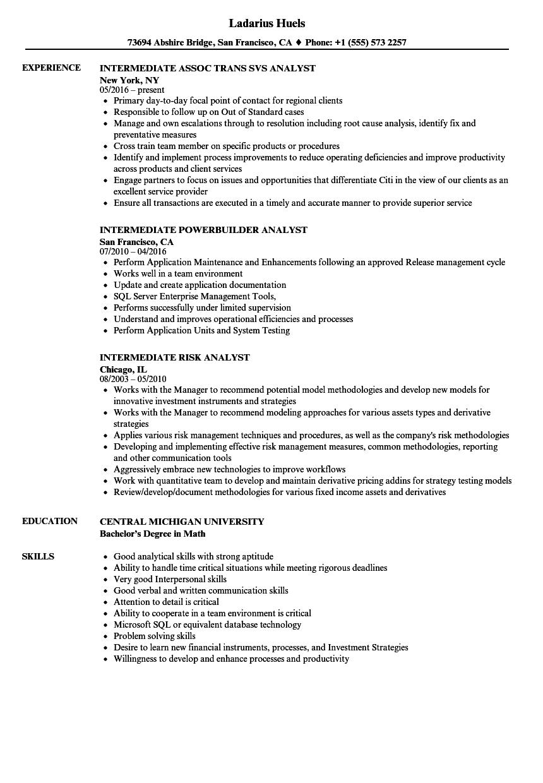 analyst  intermediate resume samples