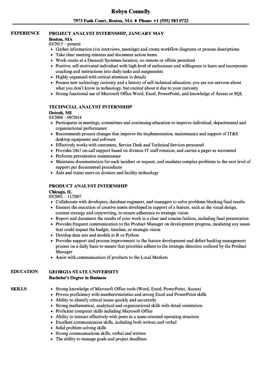 analyst internship resume samples