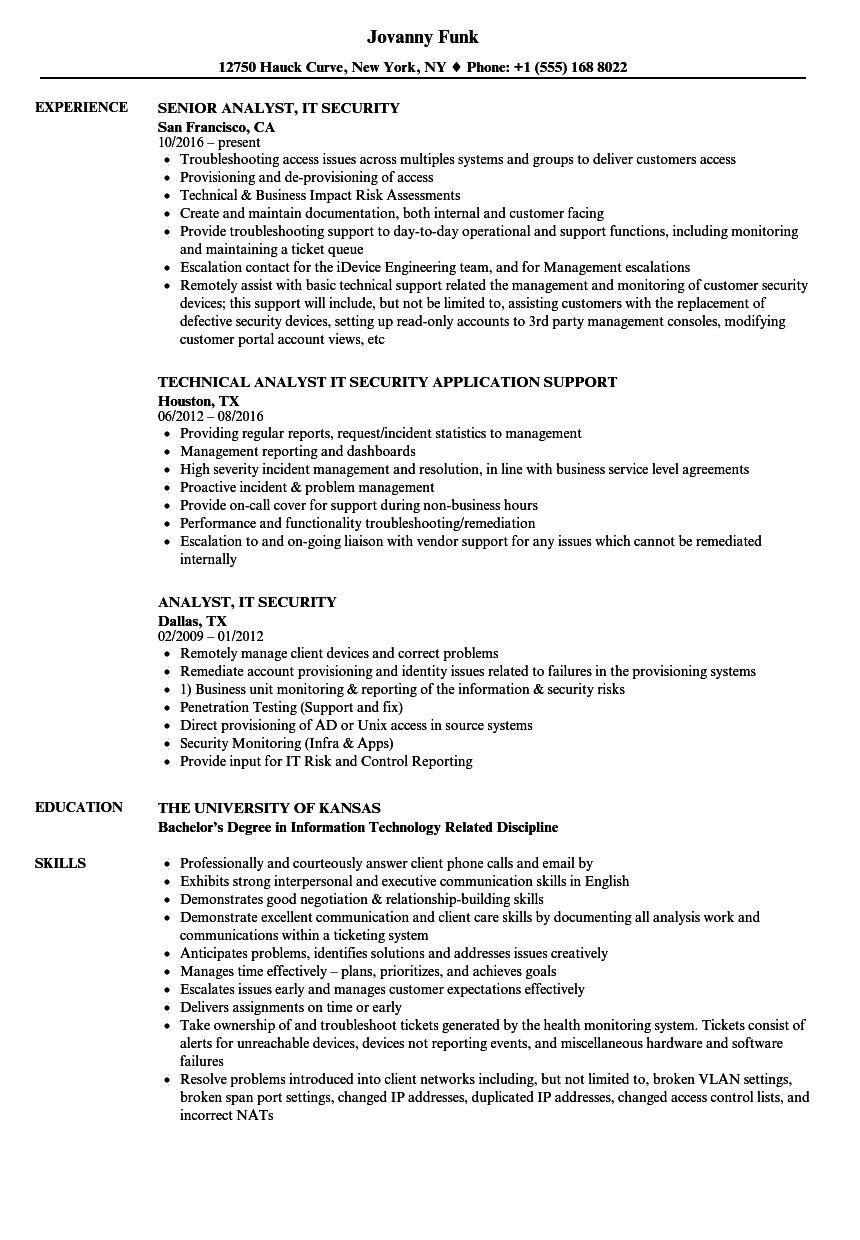 download analyst it security resume sample as image file - It Security Resume Examples