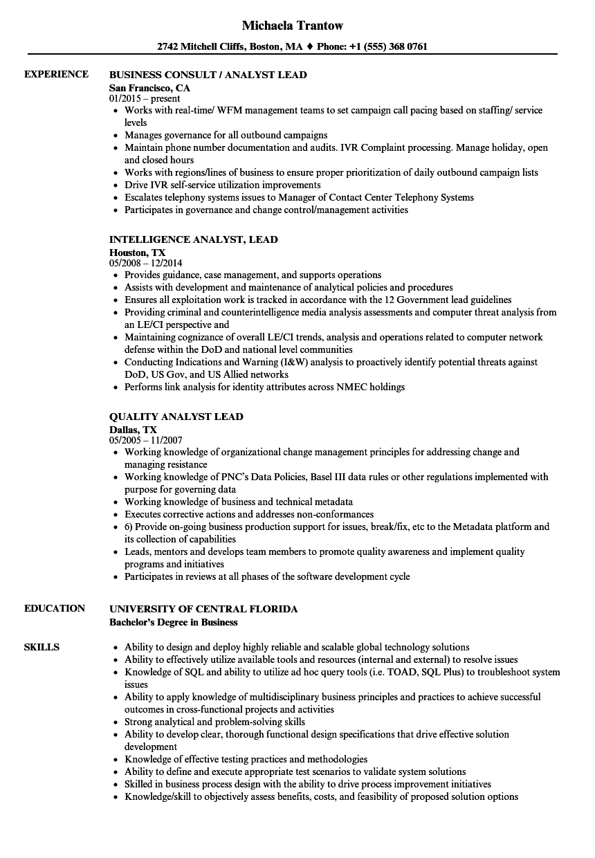 analyst lead resume samples