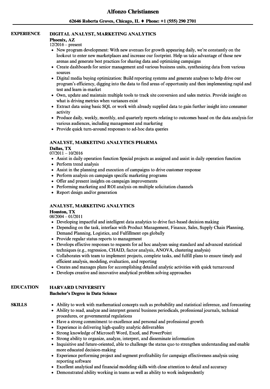 Analyst Marketing Analytics Resume Samples | Velvet Jobs