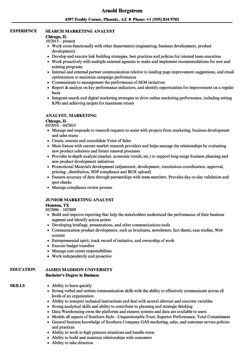 Download Analyst, Marketing Resume Sample As Image File