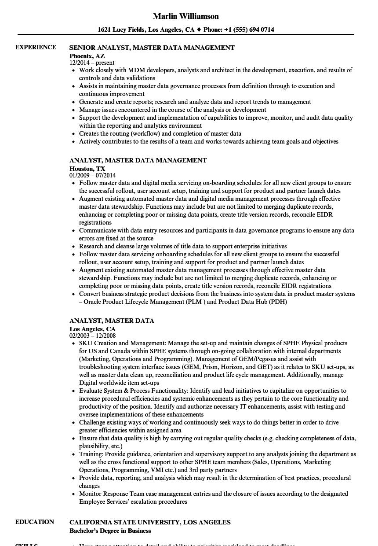 analyst  master data resume samples