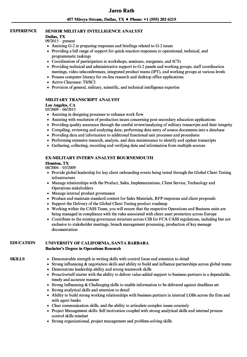 Analyst Military Resume Samples | Velvet Jobs