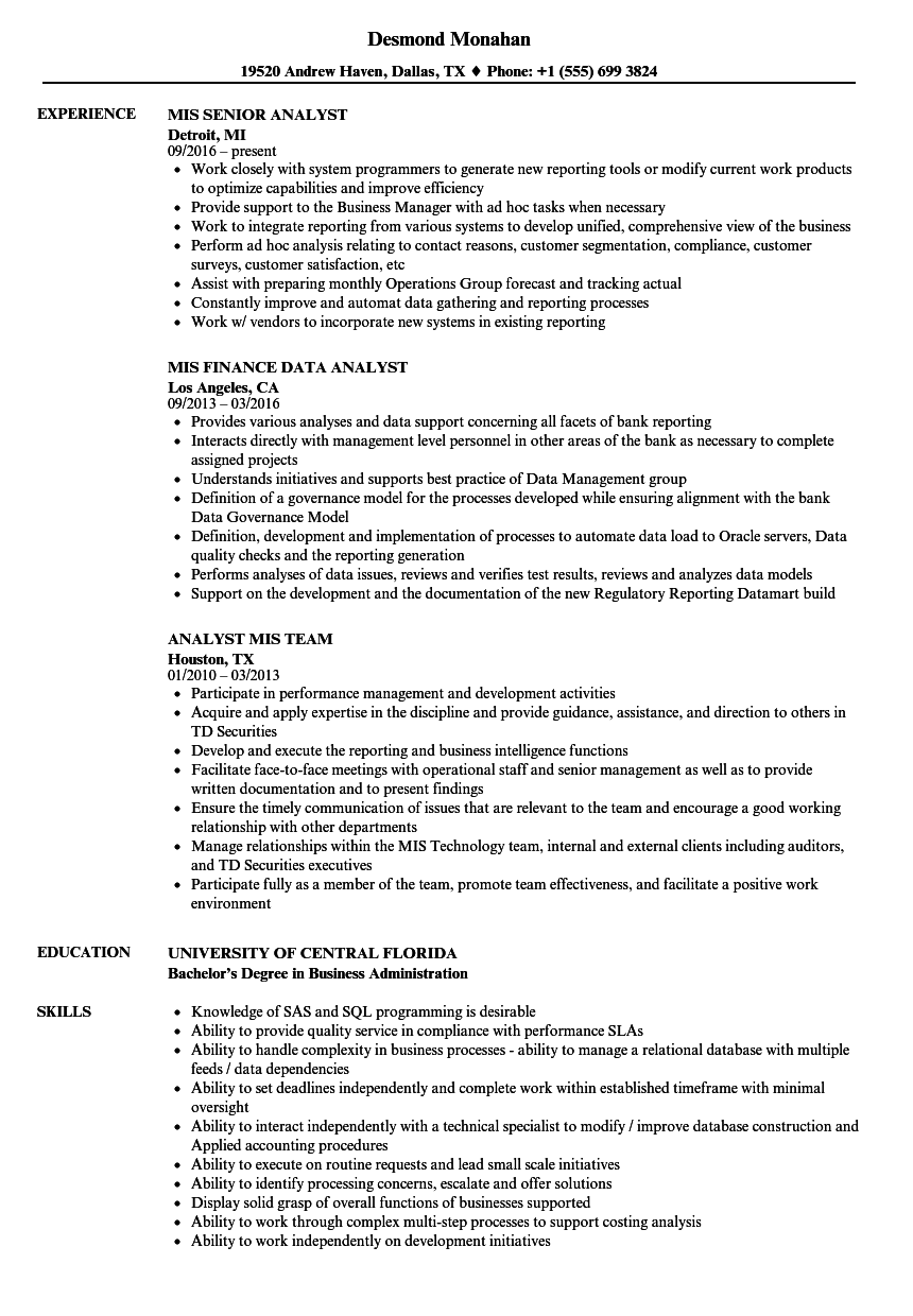 analyst  mis resume samples